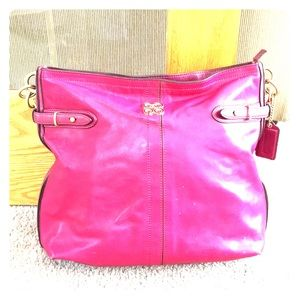 💕Coach bright pink leather hobo authentic bag 💕